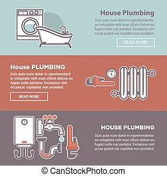 House plumbing and plumber fixture vector web banners...