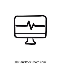 Heart beat monitor sketch icon.