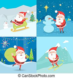 Collection of Santa Claus Characters. Four Banners. Santa...