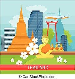 Thailand Travelling banner. Thai Landmarks. - Thailand...