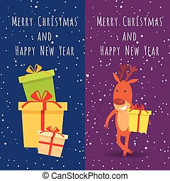 Merry Christmas and Happy New Year. Deer. Gifts - Merry...