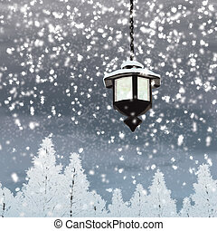 Lantern snow - 3D illustration rendering, Lantern with snow...