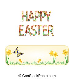 Banner Happy easter spring flowers narcissus with butterfly  vector.eps