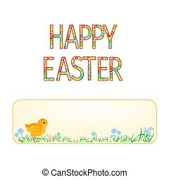 Banner Happy easter Easter chicks and Easter eggs vector.eps...