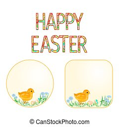 Buttons Happy easter Easter chicks and Easter eggs...