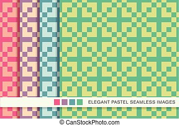 Seamless pastel background set square cross mosaic