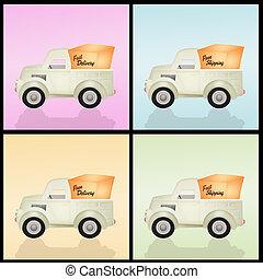 leverans, olika, lastbil