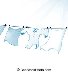 Laundry line - 3D illustration, laundry lying line on white...