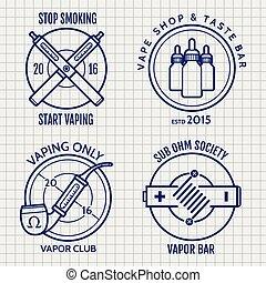 Ball pen vape shop logo set - Ball pen vape shop logo or...