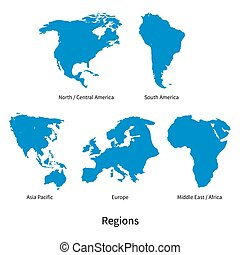 Detailed vector map of North - Central America, Asia Pacific, Europe, South America, Middle and East Africa Regions