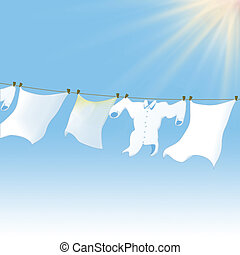 clean cloths lying in the sun - 3D illustration, clean...