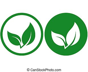 icon with green leaf