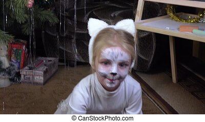 Girl child in image of cats - Painted in image of a girl...