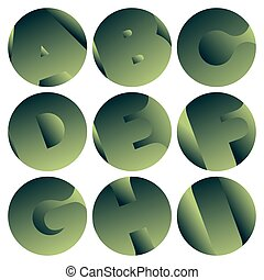 Set of letters - Set of green alphabet decorative signs