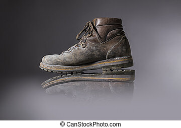 old used hiking or working boots