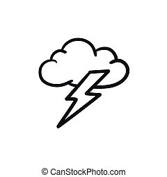 Cloud and lightning bolt sketch icon. - Cloud and lightning...