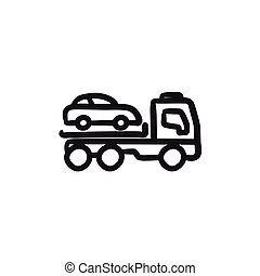 Car towing truck sketch icon. - Car towing truck vector...