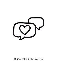 Heart in speech bubble sketch icon. - Heart in speech bubble...