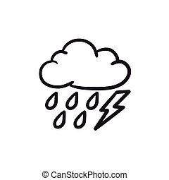 Cloud with rain and lightning bolt sketch icon. - Cloud with...