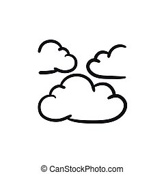 Clouds sketch icon. - Clouds vector sketch icon isolated on...