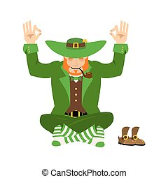 Irish Yoga. Leprechaun meditation. Dwarf with red beard...