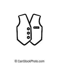 Waistcoat sketch icon. - Waistcoat vector sketch icon...