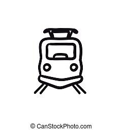 Front view of train sketch icon. - Front view of train...