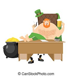 Cool Leprechaun relaxing. Mug beer and pipes. tough guy with red beard and pot of gold coins. Legendary treasures for lucky. St.Patrick 's Day. Holiday in Ireland