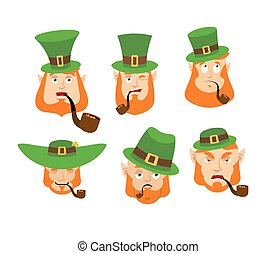 Leprechaun Emoji set. Happy and Sad. Angry and sleeping. surprised and winks. Dwarf with red beard. Irish elf emotions. St.Patrick 's Day. Holiday in Ireland