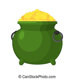 Leprechaun pot gold isolated. bowler golded coins. Legendary...