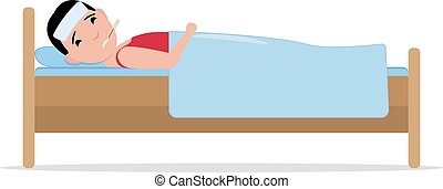 Vector cartoon ill sick man lying in bed with flu