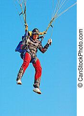 les, jeune, parachutiste, air