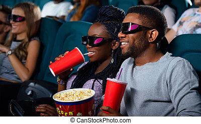 Paar, afrikanisch, junger, kino