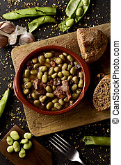 habas a la catalana, a spanish recipe of broad beans -...