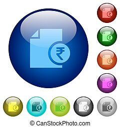 Indian Rupee financial report color glass buttons - Indian...