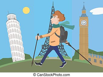 cartoon man with walking poles against europe attractions