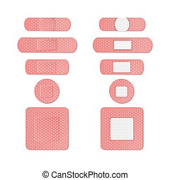Medical Patch Vector. Two Sides. Adhesive Waterproof Aid...