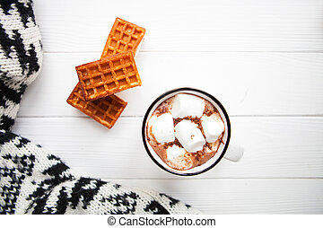Cup hot chocolate with marshmallows in a ceramic cup, plaid...