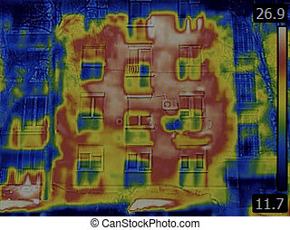 Facade Thermal Image - Thermal Image of Heat Leak from...