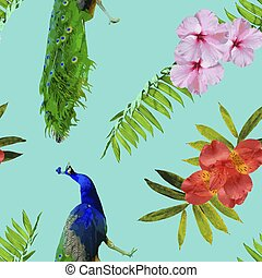 Paradise summer pattern with tropical decoration