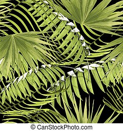 Paradise summer pattern with tropical palm leaf