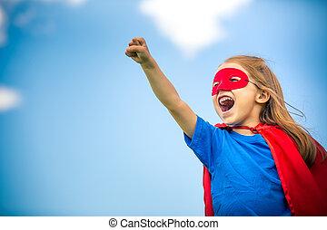 Funny little girl plaing power super hero. - Funny little...