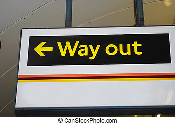 Way out sign - Yellow illuminated Way out sign