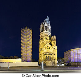 Gedaechtniskirche at Kudamm in Berlin by night