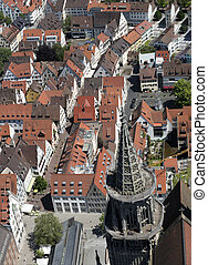 Bird's eye view over Ulm, shot from the tower of the minster...