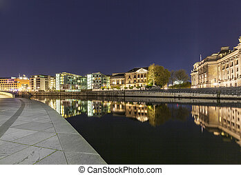 Bundestag buildings in Berlin Mitte with river spree by...