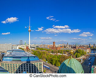 aerial wide-angle view of Berlin skyline with famous TV...