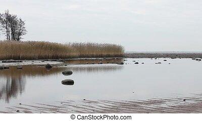 Seascape beach at low tide autumn - calm Seascape, beach at...