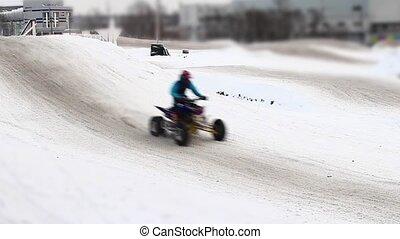 Winter motocross track during race tilt film