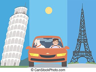 man and dog in a car against europe attractions vector cartoon
